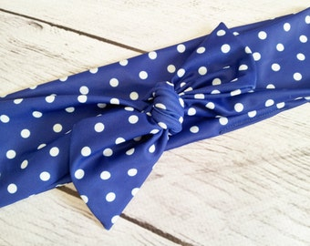 Retro Royal blue & white polka dots baby girl headband bow tie size 0-12 mos