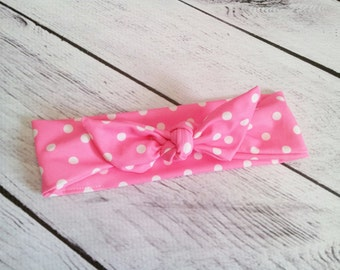Retro Pink & white polka dots baby girl headband bow tie size 0-12 mos