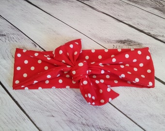 Retro Red & white polka dot baby girl headband bow tie size 0-12 mos