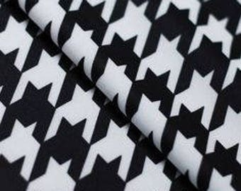 "Hounds tooth black & white nylon spandex swimsuit dance fabric by the yard 60"" wide"