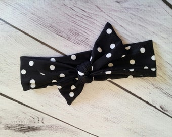 Retro black & white polka dots baby girl headband bow tie size 0-12 mos