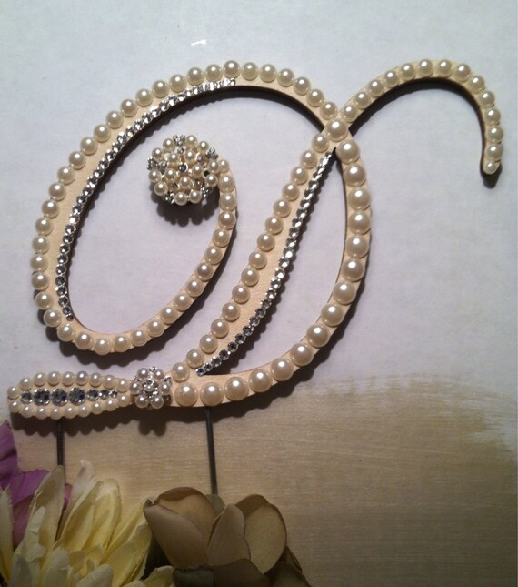 Wedding Cake Topper Pearl Monogram Cake Topper W Swarovski Crystals Fall Winter Wedding Destination Wedding Letter D Any Letter A To Z
