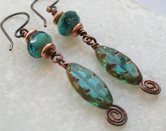 Turquoise Green Czech Glass & Copper Drop Earrings; Handcrafted and Unique; smart Pencarro Gift box; UK Seller;