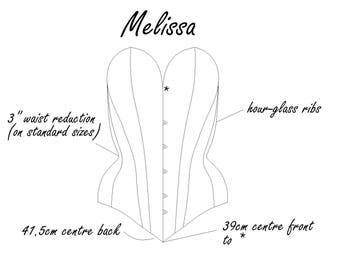 Corset Pattern! Melissa - a modern 14 panel corset pattern size (UK) 8-20, (US) 4-16