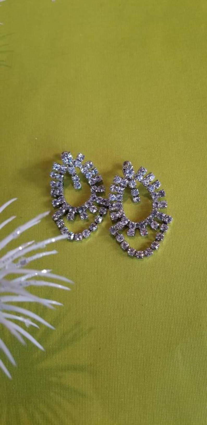 Rhinestone Runway Rhinestone Earrings Silver Clip On Formal Rhinestone Dangle Earrings Exquisite Bold Statement Clip On Earrings