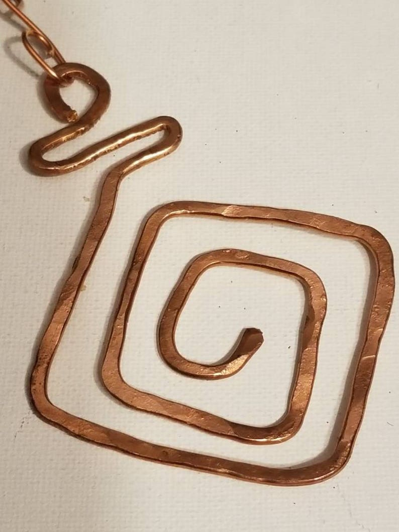 Recycled Copper Textured Design Polished Double Stranded Chain Swirl Copper Pendant Design Square Shape Hammered Copper Necklace