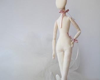 Blank Doll BODY for crafting 17''-  handmade doll- PreSewn and Stuffed Blank Doll Body - premade doll- cloth doll body