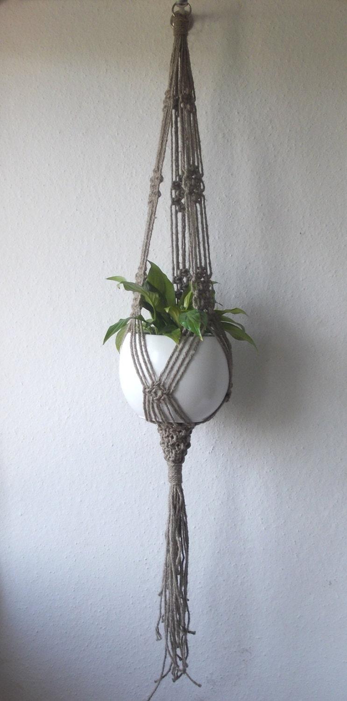 twine macrame plant hanger indoor plant holder hanging. Black Bedroom Furniture Sets. Home Design Ideas
