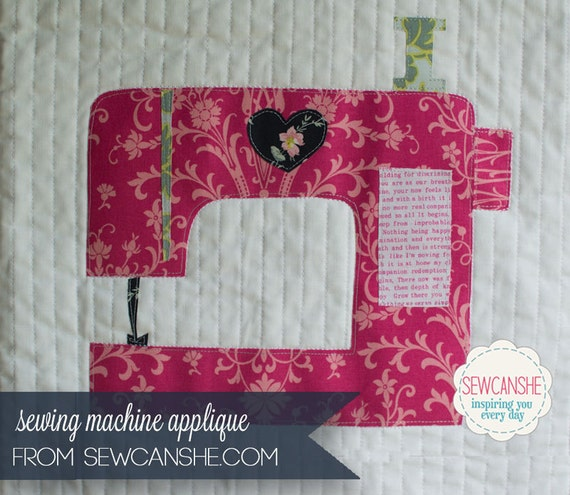Love Sewing Machine Applique Pattern 3 sizes included