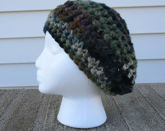 5f15db9d18a60 Beret camouflage hat hand crocheted with acrylic yarn is ladies size  medium large
