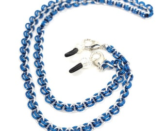 Lapis Blue and Silver Face Mask and Eyeglass Chain Lanyard