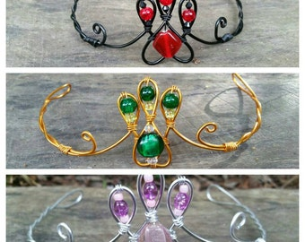 Wire wrapped tiara with beads - Head sized