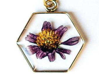 Pressed Flower Necklace, Real Dried Floral Resin Pendant, Aster