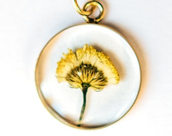Pressed Flower Necklace, Real Dried Floral Resin Pendant, Chamomile