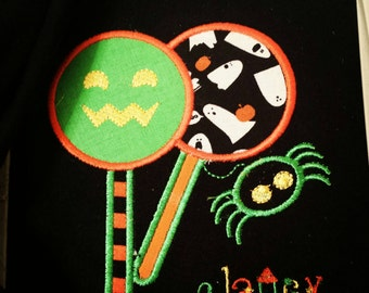 Personalized Halloween Lollipop with Spider Shirt - Long Sleeve or Short Sleeve