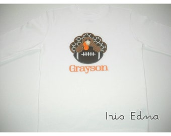 Turkey with Football / Thanksgiving Football Shirt with Name