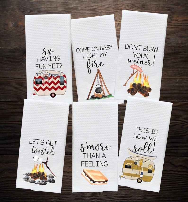 Camper Kitchen Towel  Camping Gift  Camp Kitchen  RV Decor image 0