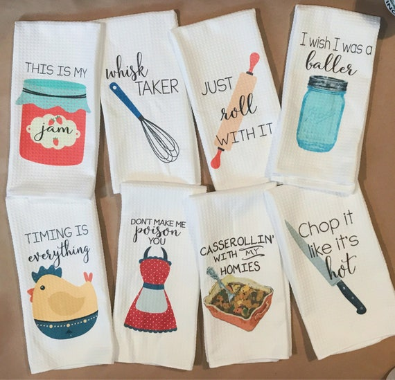 Ordinaire Funny Dish Towels Foodie Gift Unique Kitchen Towels Gift | Etsy