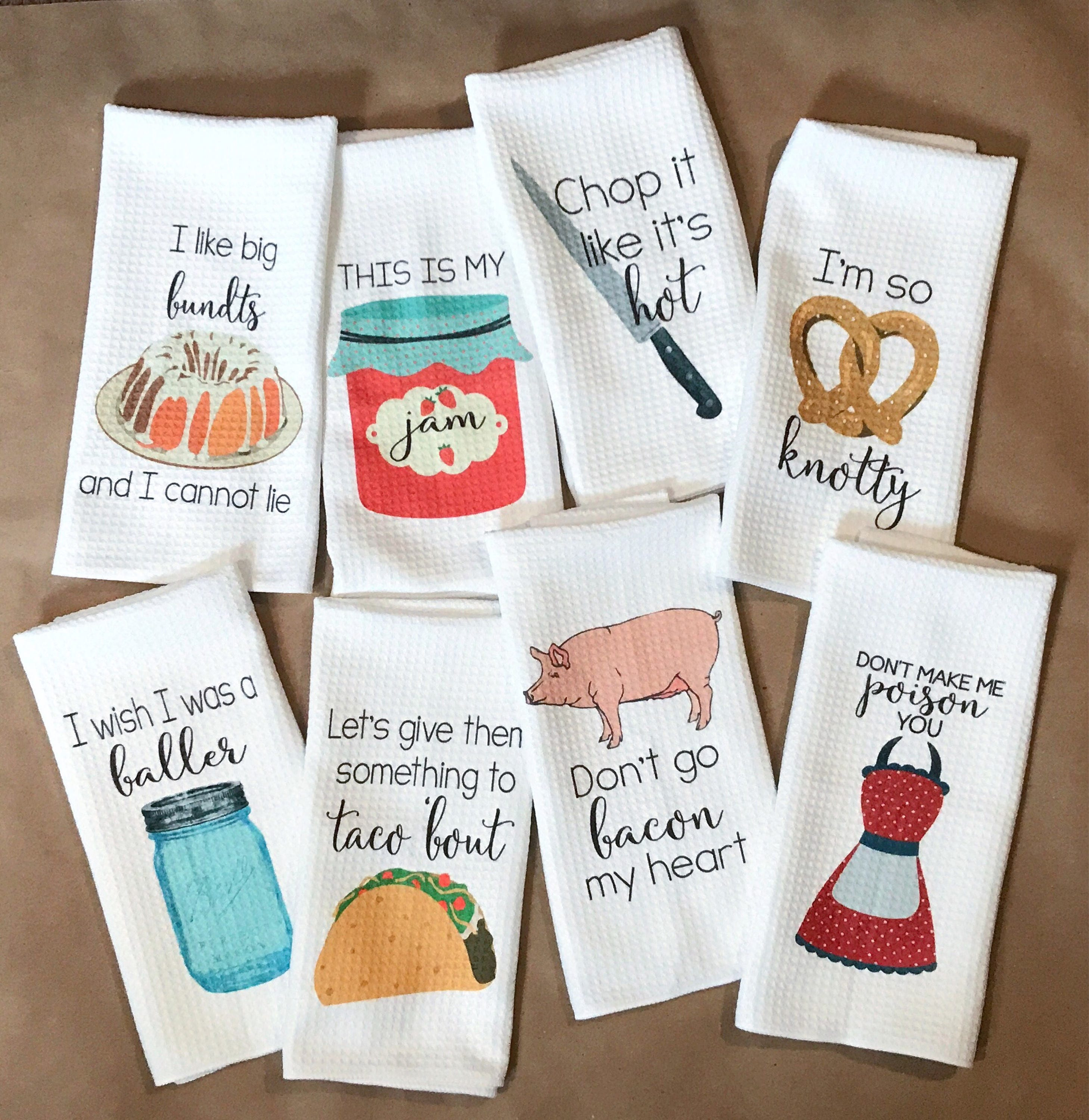 Funny Kitchen Towels Kitchen Decor Hostess Gift Dish Towels Housewarming Gift Gift For Mom Wedding Shower Gift Hand Towel