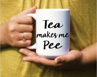 Funny Tea Cup - Funny Mug - Gift for Tea Lover - Tea Time Gift - Funny Gift for Her - Black and White - Tea Pot - Ceramic Mug - Tea Drinker