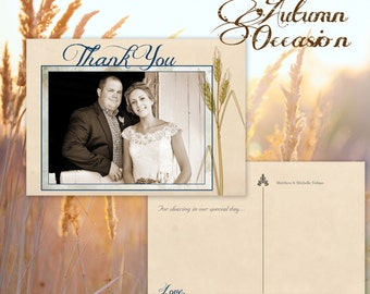 Thank you postcard—Country Rustic barn wedding