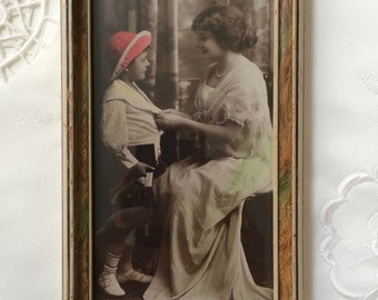 Vintage Photograph, Mother and Child, Sepia Color Tinted Framed Photograph, Vintage Photography