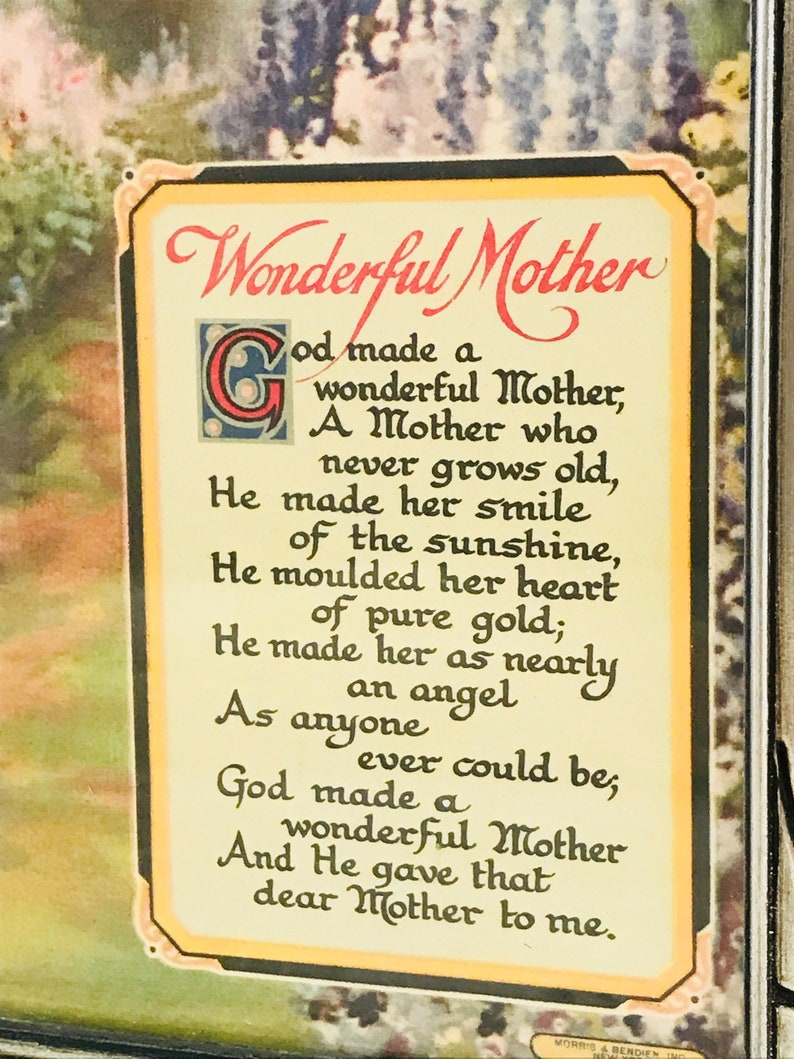Wonderful Mother Poem Motto, Vintage Framed Motto for Mother, English  Garden Picture