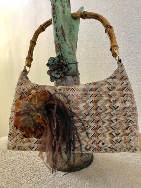 Milena Bamboo Handle Purse, Top Handle Bag