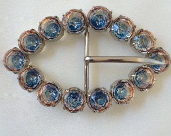 Vintage Czech Crystal Belt Buckle