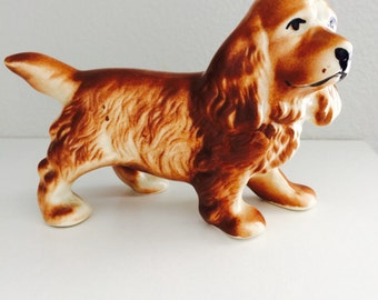 Vintage Pottery Dog Spaniel Figurine