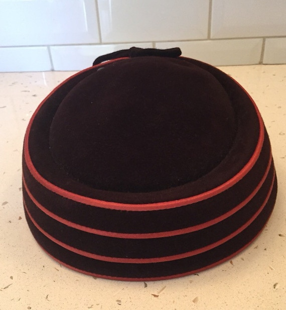 Vintage Brown and Orange Pill Box Hat