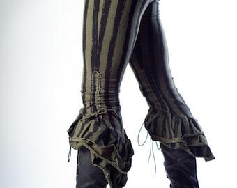 Steampunk Victoriana Sage Striped Ruffle Capris