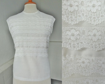 50s White Blouse With Lace Ruffles