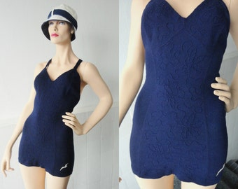 Rare Beautiful Original 30s/40s Vintage Wool Swimsuit With Stitching And Seagull