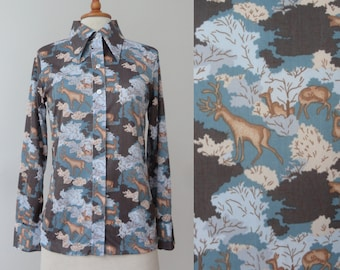 70s Vintage Lady Print Top // Reindeer Print // Big Collar // Brown And Blue // Size M // Made In Hong Kong