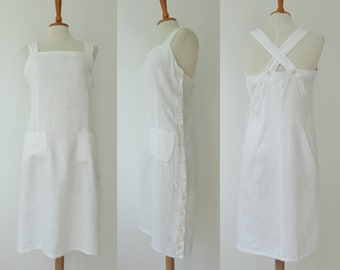 White Vintage Flax Linen Dress With Crossed Straps // NIL'S Paris // Made In France