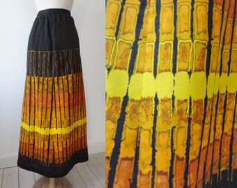 Black Vintage Maxi Skirt With Graphic Print In Yellow And Orange