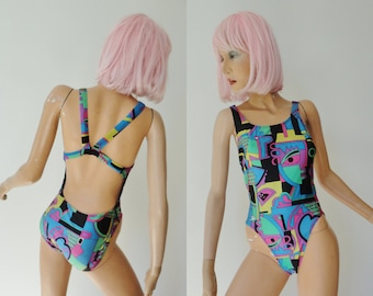"""80s Vintage Swimsuit With Colorful Print // Speedo // Size GB 96 cm 38"""" - EU42 // Made In UK"""