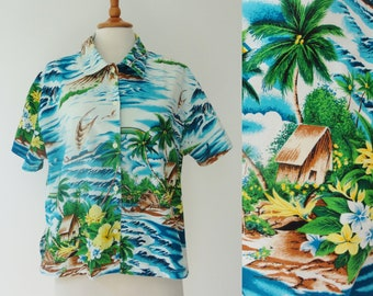 0f9691b4a Vintage Women Hawaiian Shirt // 3Suisses Le Chouchou // Size M // Made In  India