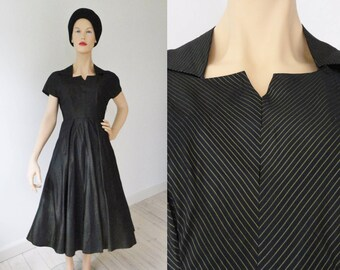 Black 50s Taffeta Vintage Dress With Gold Lines