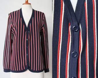Blu anni 70 Vintage Cardigan con strisce rosse e bianche     Bernhard  Altmann Wien     lana Merino     Size M     Made In Austria 70d990c940c
