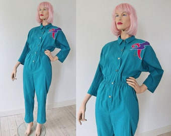 a4818793445 Turquoise Green 80s Vintage Jumpsuit With Purple Red Application   Golden  Beads    Dee California    Size US13 14    Made In USA