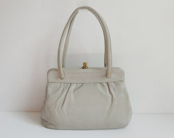 8e38896bd2 Light Gray 60s Vintage Leather Top Handle Bag    Boxca    Made In Denmark