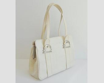 15142d2654 Ivory 60s Vintage Vegan Top Handle Shoulder Bag With Silver Buckles    Boxca     Made In Denmark