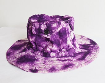48f7c5903a740 70s Tie Dye Vintage Hat With 4 Pockets On Crown    Purple White    Size 56
