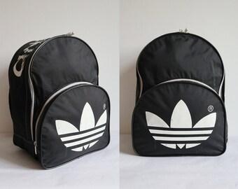 4b02366764 Black White Adidas 80s Vtg. Backpack Bag    Travel Bag    Weekend Bag     Vegan Bag    Made In China For Germany