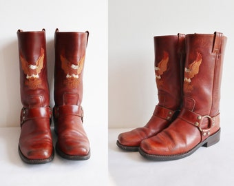 8395c0f1b5d8 Brown Vtg. Harley Davidson Leather Boots    Size EU 40