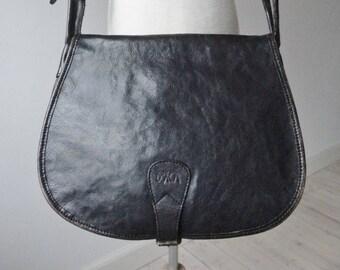 f19bf27f2c Black Vintage Leather Shoulder Crossbody Bag    Boxca    Made In Denmark