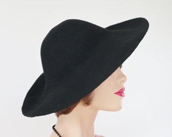 6e0317a95afc1 Black Felt Hat    Low Crown Wide Brim    Size 57
