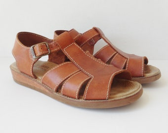 cfde8ccb6522 60s 70s Classic Iconic ECCO Vintage Naturals Sandals    Tan Leather    Size  43    Made In Brazil
